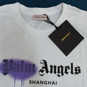 Palm Angels Printed White Short Sleeve Tee , Men's